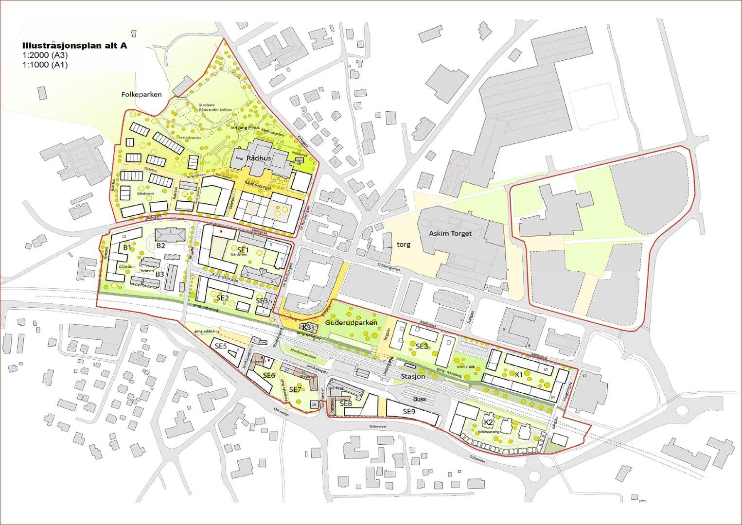 Illustrasjon av områdereguleringer i Askim sentrum
